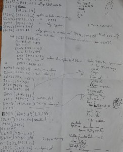 "Notes made at the party, trying to find 200 extra bytes for the voices. The number in brackets is Crinklers ""ideal compressed size"". The number in square brackets was including the voices."